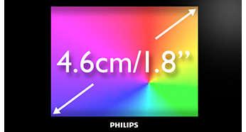 """4,6 cm / 1,8"""" täysvärinäytöllä on helppo selata"""
