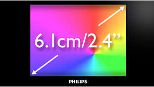 "6.1 cm/2.4"" full color screen for fantastic video quality"