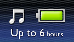 Enjoy up to 6 hours of music playback