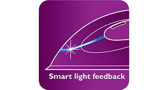 Iron with smart light feedback indicator