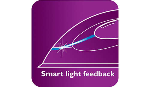 Iron with smart light feedback indicator
