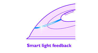 Strykejern med indikator for smart lystilbakemelding