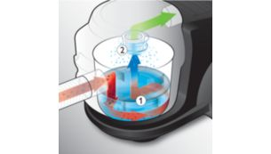 Trap dust with AquaWeb water filtration technology