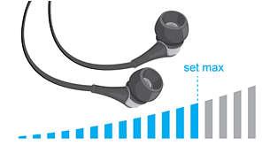Omezení maximální hlasitosti pro bezpečný poslech