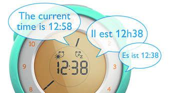Błyskawiczne podpowiedzi głosowe dotyczą godziny w języku angielskim, francuskim lub niemieckim