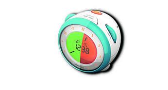 Podwójny alarm ze wskaźnikami świetlnymi informującymi o porze spania i budzenia