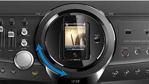 Base giratoria para reproducir y cargar el iPod/iPhone