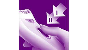 Ajuste de velocidade extra: depilação delicada ou rápido desempenho