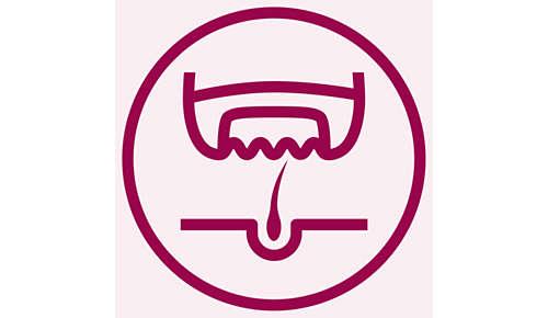 Effizientes Epiliersystem entfernt Haare an der Wurzel.