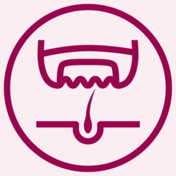 Благодаря эффективной системе эпиляции волоски удаляются с корнем