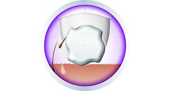 Sistema de depilação eficiente que remove os pelos pela raiz