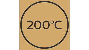Högsta temperatur på 200°C för perfekt stylingresultat