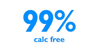99% calc-free* filtered water for your iron