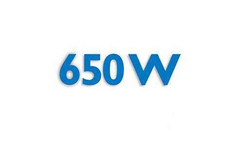 650 W:n moottori tehokkaaseen käsittelyyn