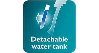 A kivehető víztartály segíti a könnyebb újratöltést