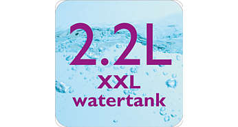 Large 2.2 l fully visible water tank