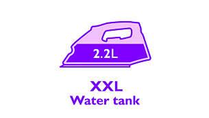 Groot zichtbaar waterreservoir van 2,2 liter