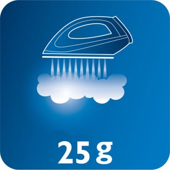 Vapor continuo de hasta 25g/min para una buena eliminación de las arrugas