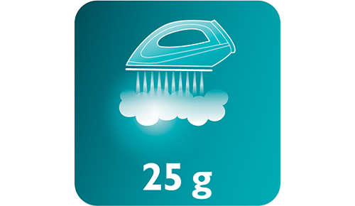 Konstant ånga upp till 25 g/min för effektiv veckborttagning