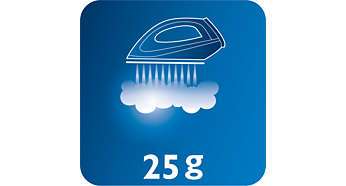Kontinuerlig damp på opptil 25g/min for god fjerning av skrukker