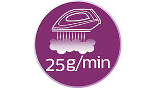 Continuous steam up to 25g/min for good crease removal