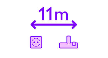 11-metrowy promień działania umożliwia odkurzanie większej powierzchni mniejszym nakładem pracy
