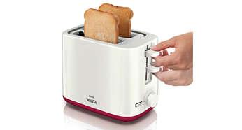 Recurso de elevação máxima para fácil remoção de pequenos pedaços de pão