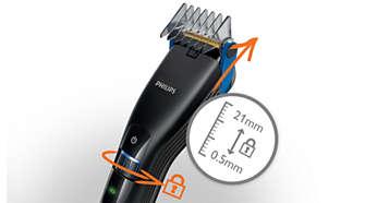 21 eenvoudig selecteerbare en vergrendelbare lengtestanden van 0,5 mm - 21 mm.
