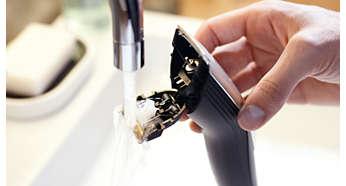 Aufklappbarer Kopf für eine einfache Reinigung unter fließendem Wasser