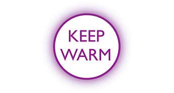 Warmhaltefunktion hält das Wasser in der voreingestellten Temperatur
