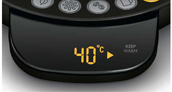 Obrazovka so zobrazením teploty vody