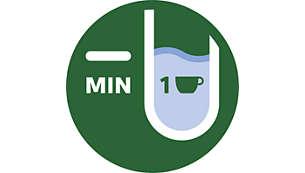 Vienas krūzes ūdens līm. ind. ļauj uzvārīt vajadzīgo ūdens daudzumu