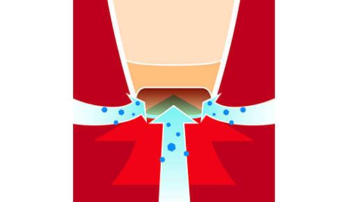 Aerodynamiskt munstycke för bättre uppsugning av damm