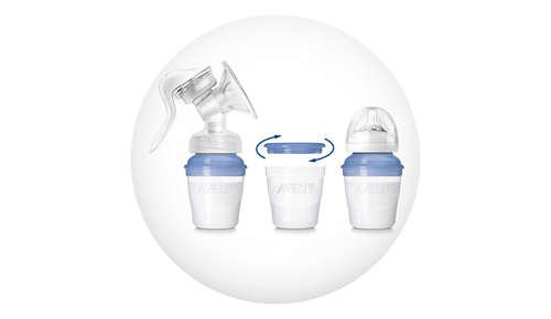 Include 3 recipiente pentru stocarea laptelui