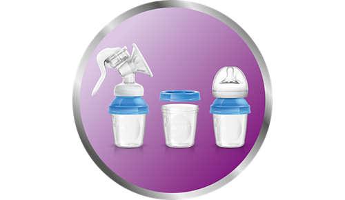 Inclut 3pots de conservation interchangeables pour lait maternel