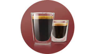 Choose between 2 recipes: strong short or mild long coffee