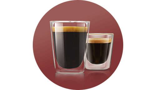 Wählen Sie zwischen 2 Rezepten: kleiner, starker oder milder, normaler Kaffee