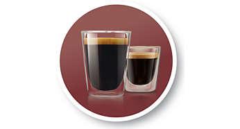 Vous avez le choix entre 2recettes: un café court et serré ou long et doux