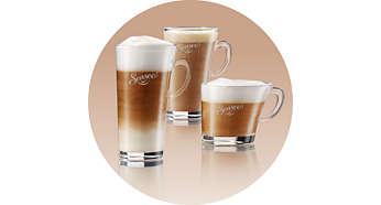 Puikaus skonio įvairių rūšių kava su šviežia pieno puta