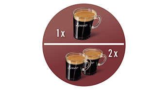 Exclusiva cafeteira que prepara 2 xícaras de uma vez.