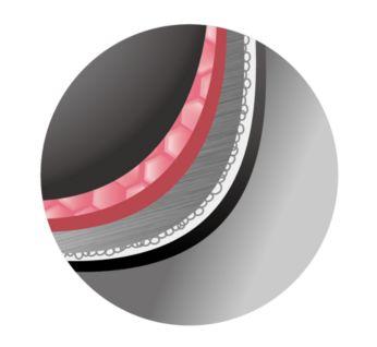 Утолщенное 2-мм напыление на внутренней чаше равномерно распределяет тепло