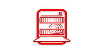 อุปกรณ์ทุกชิ้นใช้ในเครื่องล้างจานได้ ยกเว้นฐานเครื่อง
