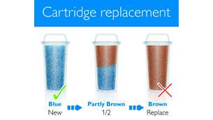 Ko se barva vložka spremeni, ga zamenjajte