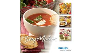 Inclui um livro de receitas que apresenta receitas inspiradoras