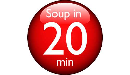 Vellutate in 23 minuti, minestre in 20 minuti, composte in 15 minuti e frullati/frappè in 3 minuti. Tu inserisci gli ingredienti e lui cucina per te.