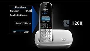 In het telefoonboek kunt u 1200 contactpersonen of 3200 nummers opslaan