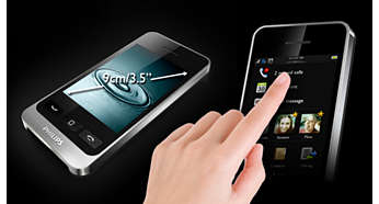 "Large 9-cm/3.5"" capacitive touch screen"