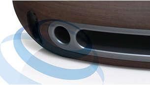 Konstrukcja Bass Reflex zapewnia pełny i głęboki bas