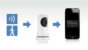 Gausite pranešimą telefonu, jei bus pastebėtas judesys / garsas