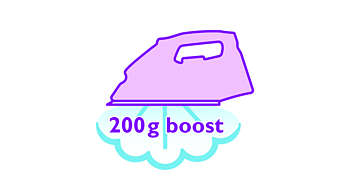 Colpo di vapore da 200 g per eliminare anche le pieghe più ostinate